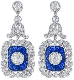 3.47ct Diamond 3.30ct Sapphire Earrings