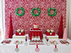 A bold, red background certainly sets the stage for this festive dessert table done by Anders Ruff. Description from homeconfetti.blogspot.com. I searched for this on bing.com/images
