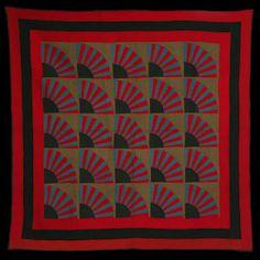 Amish Pieced and Appliquéd Wool Fan Quilt (1882)