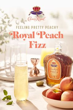 Fizz makes everything more fun. Add some bubbly to your brunch with Crown Royal Peach.  Add .5 oz Crown Royal Peach and .5 oz fresh orange juice to a glass. Top with champagne. Garnish with a sprig of mint.  Drink Menu, Bar Drinks, Cocktail Drinks, Yummy Drinks, Beverages, Food And Drink, Alcoholic Punch Recipes, Alcohol Drink Recipes, Alcoholic Drinks