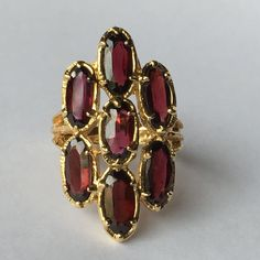 Vintage Garnet Cluster Ring. 14k Yellow by ScotchStreetVintage