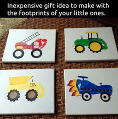 Firetruck, Tractor, Dump Truck, Race Car Footprints