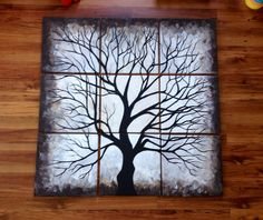 "Black and White  tree 12x12""multi canvas painting NaptimeDesignsJD@gmail.com"