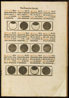 Kalender of the Shepherdes | Table for eclipses of sun and moon | published in the 1490s in Paris by Guy Marchant and Antoine Vérard.