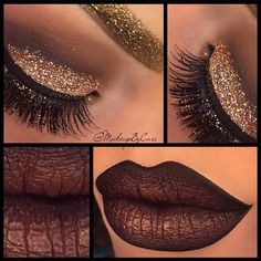 @queenricann  | makeup | pictorial | burgundy | liner | glitter | gold | eye makeup | brown | glam | cut crease