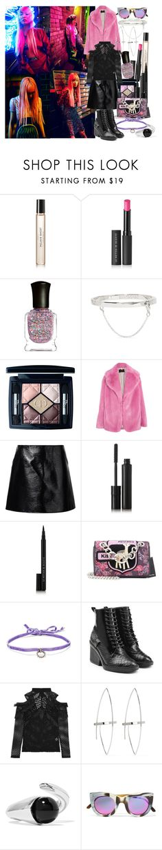 """""""Her soul is a kaleidoscope, bursting with every shade and hue, but shift your gaze ever so slightly, and she's something entirely new"""" by brownish ❤ liked on Polyvore featuring Byredo, Le Métier de Beauté, Deborah Lippmann, Eddie Borgo, Christian Dior, J.Crew, Courrèges, Kjaer Weis, Miu Miu and DANNIJO"""