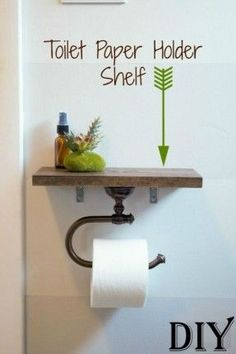 DIY Toilet Paper Holder Shelf | More storage room in your bathroom? How about above your toilet paper? Add yourself a DIY Toilet Paper Holder Shelf today and start organizing or add some home dec