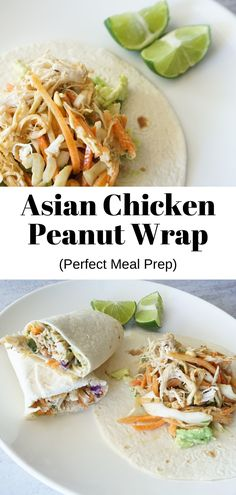 These Asian chicken peanut wraps make an easy and healthy lunch! Crispy coleslaw, crunchy carrots and juicy chicken, tossed in a peanut butter sauce wrapped in a tortilla. They are filling and delicious. Easy Healthy Recipes, Quick Easy Meals, Healthy Cooking, Lunch Recipes, Real Food Recipes, Gluten Free Wraps, Gluten Free Soy Sauce, Cheesy Rice Casserole, Asian Chicken Wraps