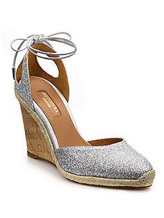 Aquazzura Palm Beach Glitter Espadrille Wedge Sandals silver or gold