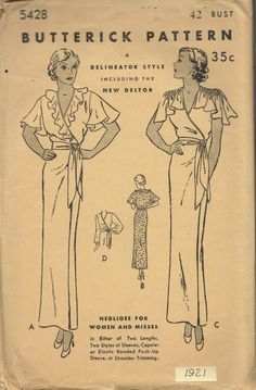 Butterick 5428: 1930's negligee with amazing shoulders