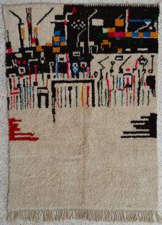 8X6 feet Handmade Multicolor & Ivory moroccan rug beni ouarain