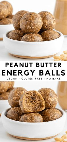 These no bake peanut butter energy balls are healthy, vegan, gluten-free, and made with 5 ingredients! It's an easy snack with dates, peanut butter, and oatmeal. Great for kids, meal prep, or enjoyed as a quick dessert! #peanutbutter #energyballs #nobake #vegan #glutenfree #5ingredient #dates #vegansnack #medjooldates #healthysnack Vegan Snacks On The Go, Healthy Vegan Snacks, Gluten Free Snacks, Raw Vegan Recipes, Vegan Dessert Recipes, Vegan Treats, Easy Snacks, Snack Recipes, Cooking Recipes