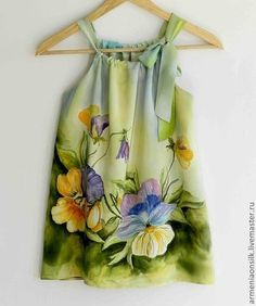 Very beautiful hand painted dress for girls. I have painted this dress on a natural silk crepe-de -chine with pansy flowers and olive green , Hand Painted Dress, Painted Clothes, Painted Silk, Trendy Dresses, Nice Dresses, Little Girl Dresses, Girls Dresses, Style Baby, Silk Art