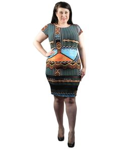 PLUS SIZE BLUE MULTI PATTERN SHORT SLEEVE KNEE LENGTH FITTED DRESS 1X 2X 3X