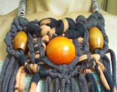 Macrame Upcycled Jersey Fabric Fringe Necklace with Vintage
