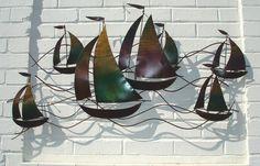 Metal Artwork, Metal Wall Art, Metal Sculpture Wall Art, Boat Art, Metalworking, Sailboat, Mixed Media Art, Heavy Metal, Wall Art Decor