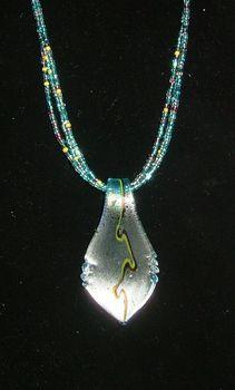 TUTORIAL...Aqua Leaf Murano Glass Necklace Set ... A gorgous 20-inch, 3-strand beaded necklace with a beautiful Murano glass pendant