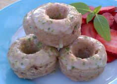 Strawberry Lemon Basil Mini Donuts from Kathy Hester Mini Donut Recipes, Strawberry Recipes, Strawberry Vodka, Raw Vegan Recipes, Vegan Desserts, Vegan Food, Vegan Sweets, Vegan Baking, Vegan Dishes
