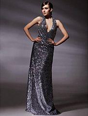 Sequined Fabric Sheath/ Column V-neck Floor-length Evening Dress inspired by Olivia Wilde at Golden Globe