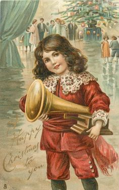 A HAPPY CHRISTMAS TO YOU  boy in red suit holds phonograph under his left arm