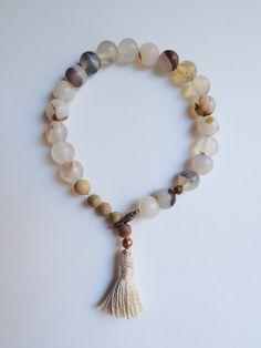 Agate and Natural White Tassel Bracelet