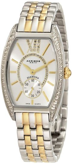 Akribos XXIV Women's AKR470TT Diamond Swiss Quartz Tourneau Bracelet Strap Watch * Remarkable product available now. (This is an amazon affiliate link. I may earn commission from it)