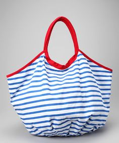 Take a look at this Navy & Red Stripe Tote by Cabana Life on #zulily today!