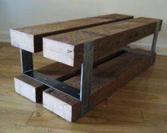 Vidrio y madera mesa de café. por TicinoDesign en Etsy