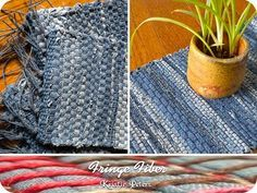 Crochet Rug Old Jeans Crochet, Carving, Patterns. Crochet Rug Old Jeans Jean Crafts, Denim Crafts, Fabric Crafts, Sewing Crafts, Sewing Projects, Denim Ideas, Braided Rugs, Recycled Denim, Rug Making