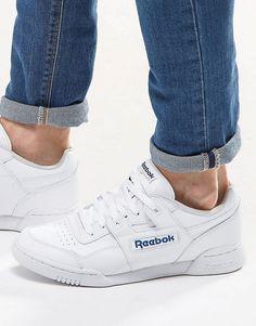 Super lækre Reebok Workout Plus Trainers In White 2759 - White Reebok Løbesko til Herrer til hverdag og til fest