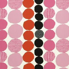 Tribeca – Cerise fabric from Designers Guild. Cut-out paper circles form a simple graphic striped pattern