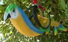 macaw flower pot from recycled tires
