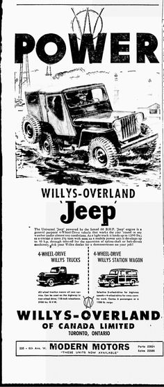 Classic POWER ad for the Jeep CJ-3A.