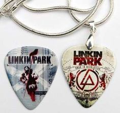 Linkin Park Silver Guitar Pick Necklace + Matching Pick