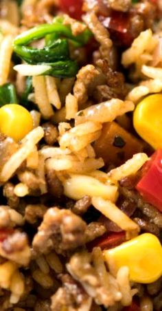 Beef and Rice with Veggies Recipe video above. Ground beef cooked with seasoned rice and plenty of veggies - kind of like a pilaf or fried rice! Veggie Recipes, Beef Recipes, Cooking Recipes, Healthy Recipes, Sausage Recipes, Healthy Meals, Beef Dishes, Rice Dishes, Food Dishes
