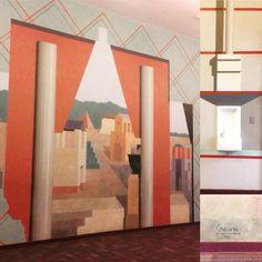 """Soudasouda: """"Michael Graves mural na JW Middle School Princeton NJ.  Feito em 1979 81.  Via parsonshdcs.  Via-school, design, 70s Postado em Souda's Tumblr Da placa Pinterest: Arte - Esculturas modernas, pinturas contemporâneas, ilustrações e muito mais """""""