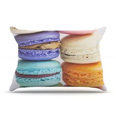 KESS InHouse I Want Macaroons by Libertad Leal Featherweight Pillow Sham Size: King, Fabric: Woven Polyester Pillow Shams, Pillow Cases, Macaroons, Vanilla Cake, Throw Pillows, Desserts, Food, King, Queen