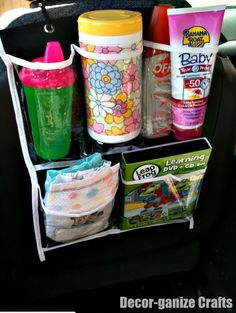 Brilliant - small hanging organizer from dollar store for car organizer. I must do this. This is so appropriate!!