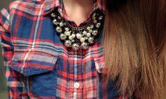 Flannel & Statement necklace