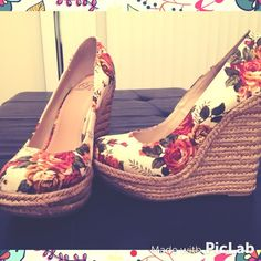 Floral wedges brand new Beautiful floral natural wedges brand new never worn they are just too high for me D Shoes