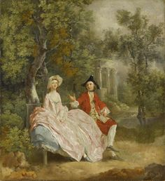 """Thomas Gainsborough, English painter, was born #onthisday in 1727. """"Conversation in a Park"""" ☛ http://bit.ly/1IAP6Hx"""