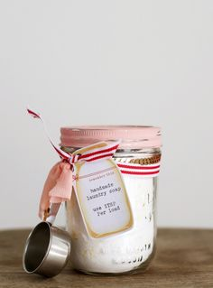 Homemade laundry soap cute packaging. Love the typewriter on the mason jar tag.
