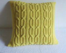 Lemon Cable Knitted Pillow Cover Yellow Pure Cotton Throw Pillow, Decorative Pillow, Cable Knit Pillow Cover, Knit Pillow Case Knitting ProjectsCrochet For BeginnersCrochet PatternsCrochet Amigurumi Small Pillows, Linen Pillows, Diy Pillows, Custom Pillows, Decorative Pillows, Throw Pillows, Yellow Pillow Covers, Diy Pillow Covers, Yellow Pillows