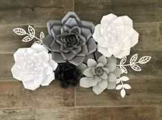 Excited to share this item from my shop: ready to ship: set of 5 flowers in shades of grey and white Hanging Paper Flowers, White Paper Flowers, How To Make Paper Flowers, Balloon Flowers, Wooden Flowers, Paper Flower Wall, Metal Flowers, Metal Flower Wall Decor, Name Wall Decor