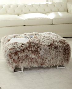 fur ottoman - how amazing would this be to sink your feet into on our chilly Northern days?!?!!!!