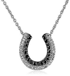 Sterling silver black and white diamond horse shoe necklace 14 awesome sterling silver black and white diamond horse shoe necklace 14 cttw aloadofball Choice Image