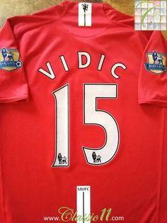 a2b816532 2007 08 Man Utd Home Premier League Football Shirt Vidic  15 (XL)