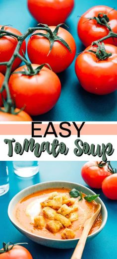 We can show you how to make homemade Tomato Soup using fresh, ripe tomatoes and just a handful of ingredients. It's so easy! Soup Appetizers Soup Appetizers dinners carb Soup Appetizers Appetizers with french onion Crockpot Tomato Soup, Easy Homemade Tomato Soup, Easy Tomato Soup Recipe, Best Tomato Soup, Canned Tomato Soup, Fresh Tomato Recipes, Healthy Soup Recipes, Lunch Recipes, Salad Recipes