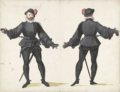 Unknown, 1500 - In the black-clad soldier, from the front and from the rear - art print, fine art reproduction, wall art 16th Century Fashion, Painter Artist, Canvas Paper, Canvas Prints, Art Prints, Old Master, Art Reproductions, Amsterdam