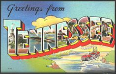 1940 Large Letter Greetings from Tennessee State Vintage Postcard